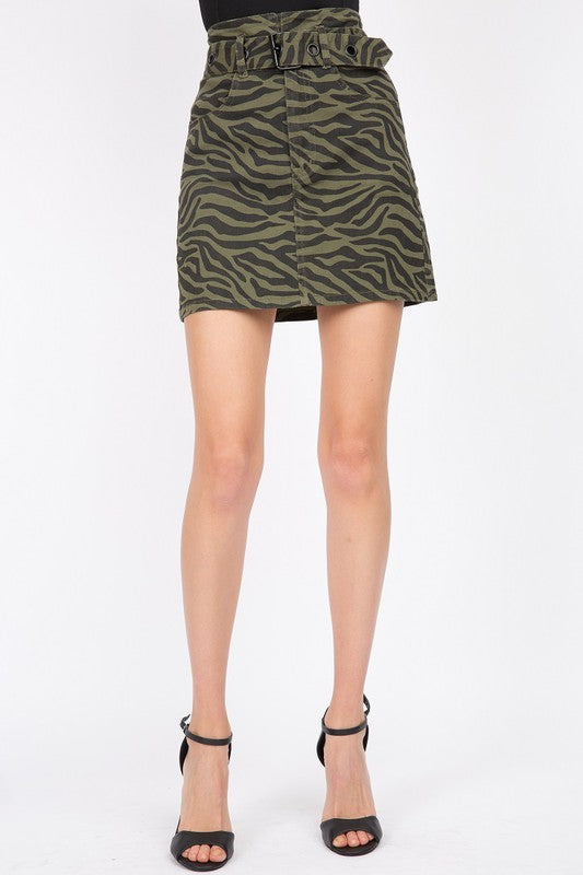 zebra print high waist denim skirt with belt
