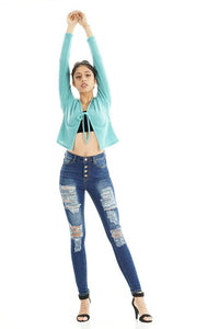 V2672H-1-J&C-High waist distressed skinny jean with exposed buttons-RK Collections Boutique