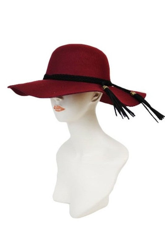 SN-563-2-Cap Zone-Floppy Felt Hat with Braids and Fringes trim-RK Collections Boutique