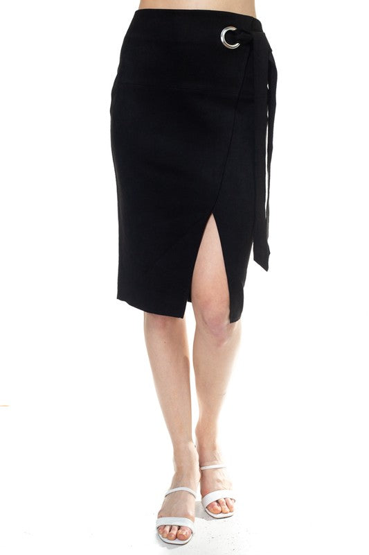 OS52304-1-Fashion USA-Faux Suede Wrap Knee Length Skirt-RK Collections Boutique