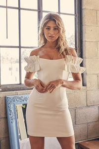 ruffle sleeve off the shoulder bodycon dress