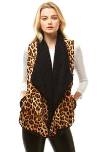 -Hana-Leopard Print Vest with Fur Lining-RK Collections Boutique
