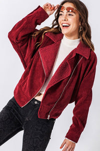 FL20C912-W-S-Favlux-corduroy/sherpa side zip jacket-RK Collections Boutique