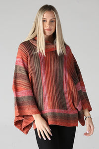 -Angie-Stripe cowl neck wide sleeve sweater-RK Collections Boutique