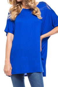 B1A-5479-13-1 Mad Fit-jersey crew neck loose tunic tee-RK Collections Boutique