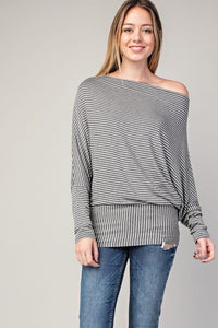 stripe jersey wide neck dolman top