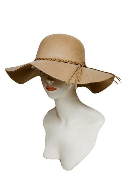 SN-747-1-Cap Zone-Braided Band Floppy Felt Hat-RK Collections Boutique