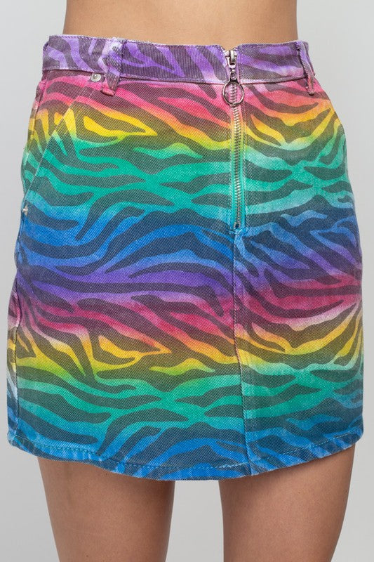 Rainbow zebra denim mini skirt