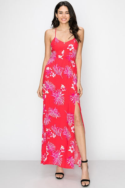 tropical print strappy back maxi dress