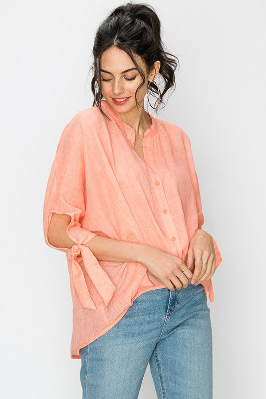 Mandarin collar woven blouse with tie sleeve