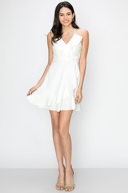 ruffle swing dress with lace up back