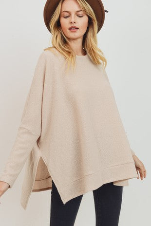 Brushed Two Tone Knit Side Slit Boxy Top