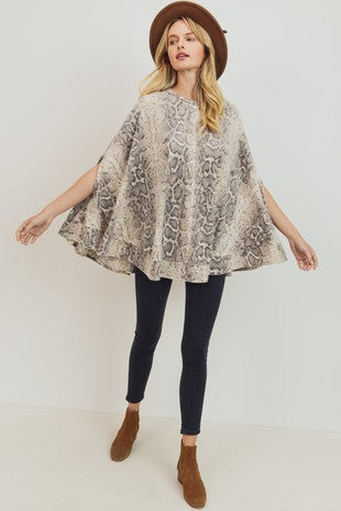 -Cherish USA-Brushed Snake Knit Circle Poncho Top-RK Collections Boutique