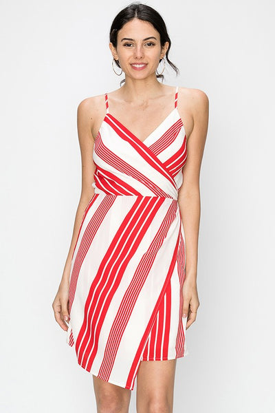 asymmetrical stripe faux wrap dress - by Favlux - available at rkcollections.myshopify.com - Red / LARGE - Dress