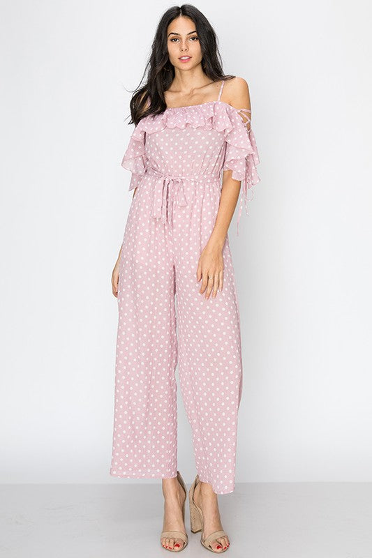 polka dot cold shoulder jumpsuit