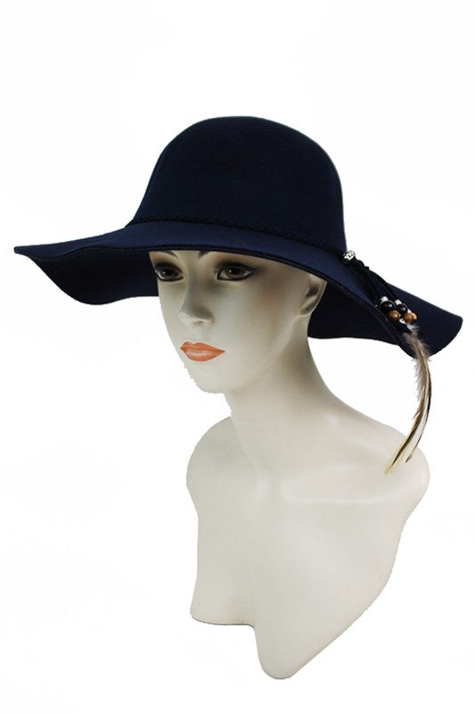 SN-999-1-Cap Zone-Braid band with Feather & Wood Bead Floppy Hat-RK Collections Boutique