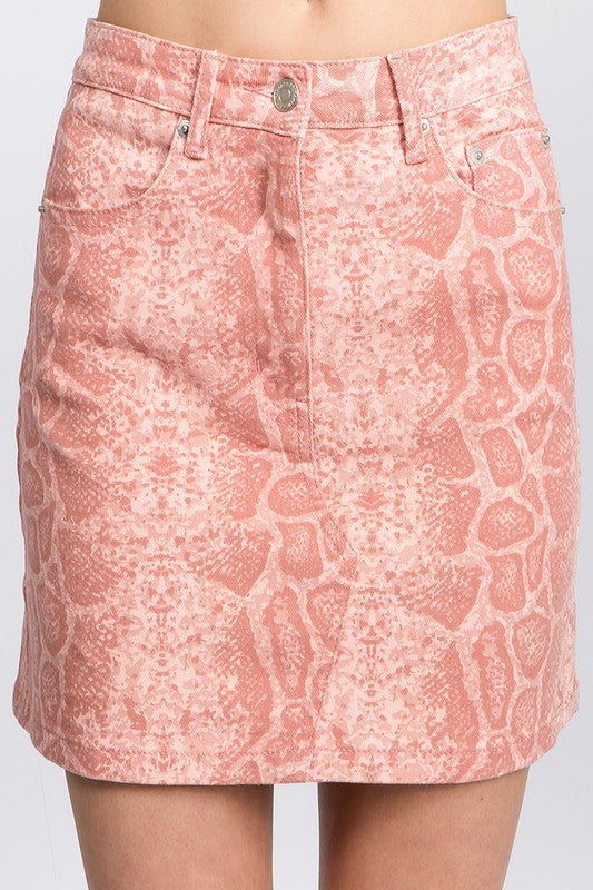 snakeskin denim mini skirt