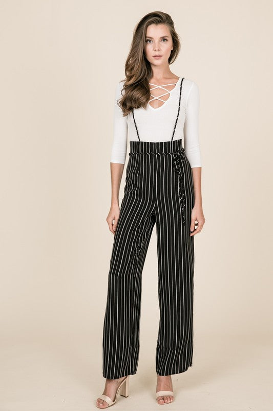 pinstripe suspender wide leg pants