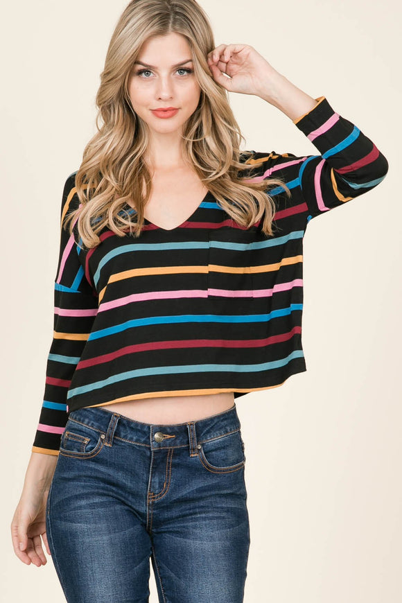 Long sleeve crop multi striped top
