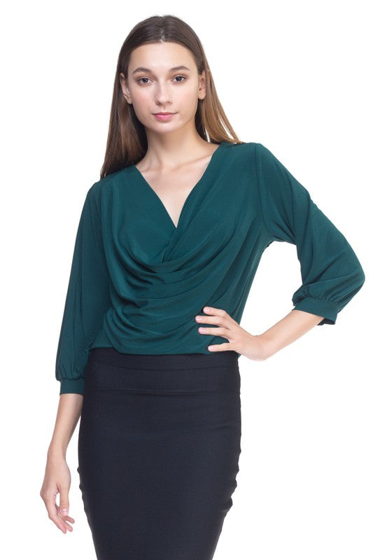 OT24625-4-Fashion USA-Cowl neck 3/4 sleeve shirt-RK Collections Boutique