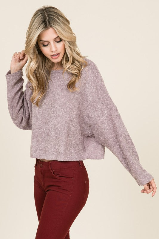 Long sleeve knit boucle sweater