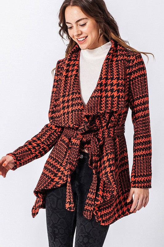 FL20C612-R-S-Favlux-Houndstooth shawl jacket-RK Collections Boutique