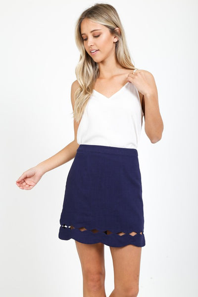 scallop hem diamond cut out mini skirt - by Love Richie - available at rkcollections.myshopify.com - Navy / LARGE - Skirts