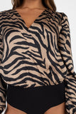 -Fashion USA-Tiger Print Wrap Bodysuit-RK Collections Boutique