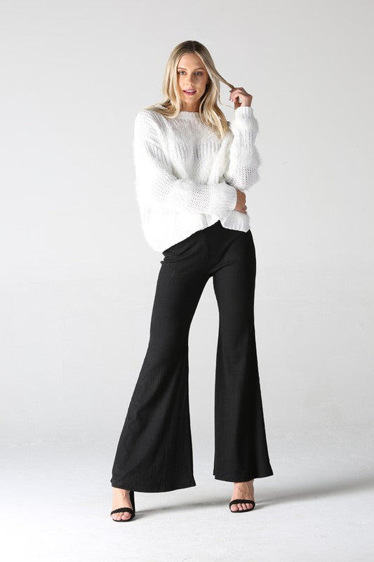 XP883-ASIS-1-Angie-ribbed knit bell bottom pants-RK Collections Boutique