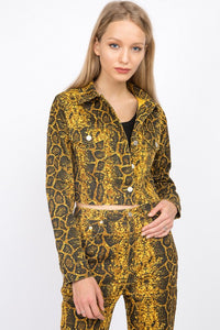 S5579C-1-Signature 8-Snake print jean jacket-RK Collections Boutique