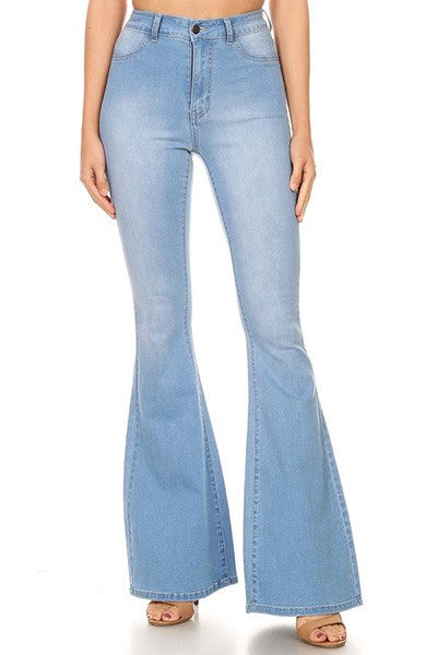 high waist stretch bell bottom jeans