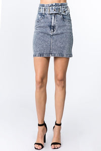 S7407A-1-Signature 8-Stretch high waist acid wash denim skirt-RK Collections Boutique