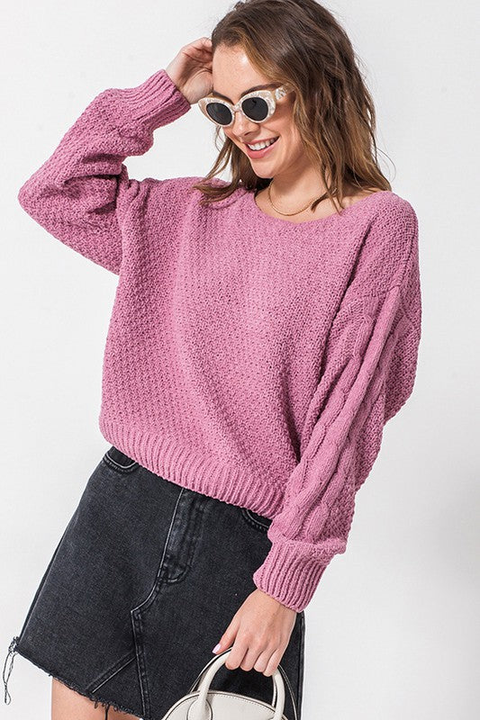 Chenille sweater with cable knit on arm