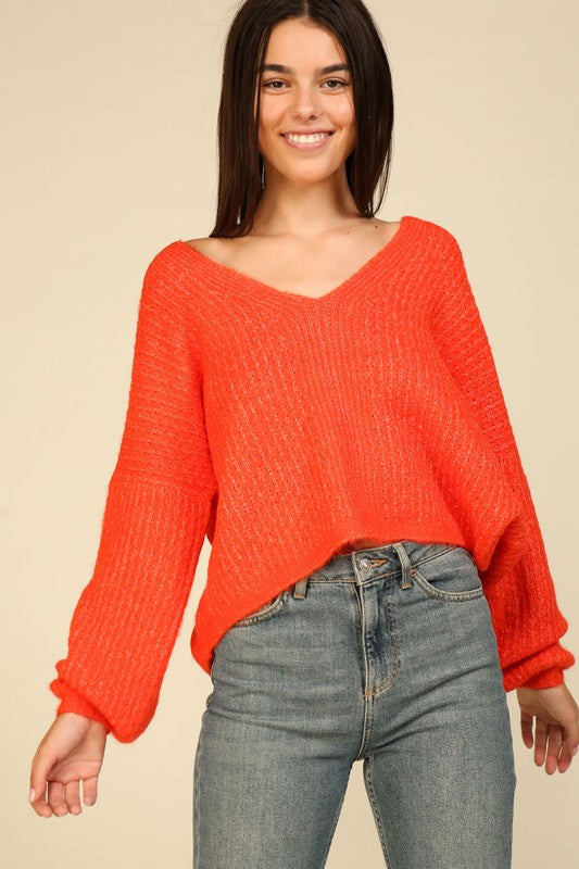 Long Sleeve Knit V-Neck Sweater
