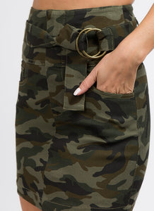 -Signature 8-belted high waist camoflauge skirt-RK Collections Boutique