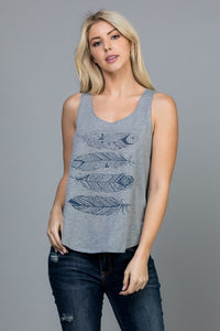 V-1927G-S-LA Soul-Boho feather print tank top-RK Collections Boutique
