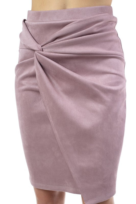 Faux Suede Twist Front Midi Skirt