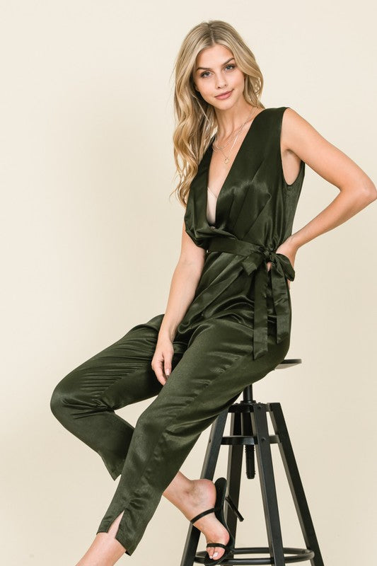 Satin sleeveless jumpsuit