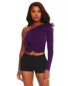 One shoulder twist front jersey top