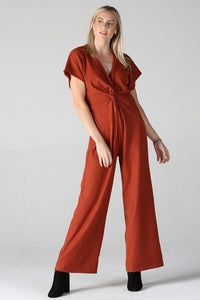 Q5V17-RG71-1-Angie-twist front v-neck jumpsuit-RK Collections Boutique