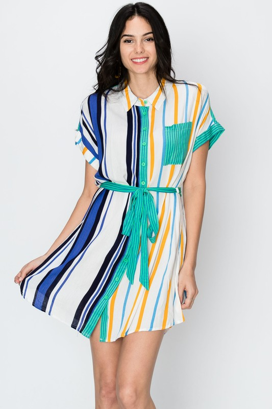 stripe short sleeve woven dress