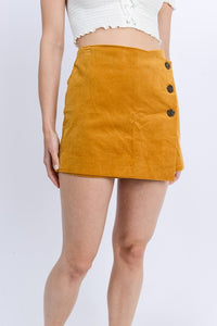 P6003-M-S-Love Tree-Side Button Up Wrap Corduroy Skort-RK Collections Boutique