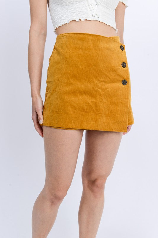 Side Button Up Wrap Corduroy Skort - by Love Tree - available at rkcollections.myshopify.com - Mustard / LARGE - Shorts