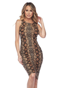 -Yelete-Tan Snake Skin Print Bodycon Dress-RK Collections Boutique
