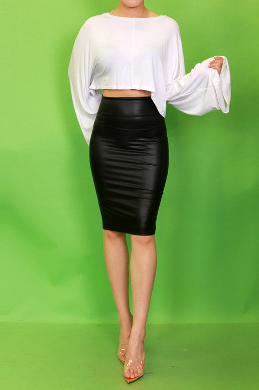 Faux leather fitted pencil midi skirt