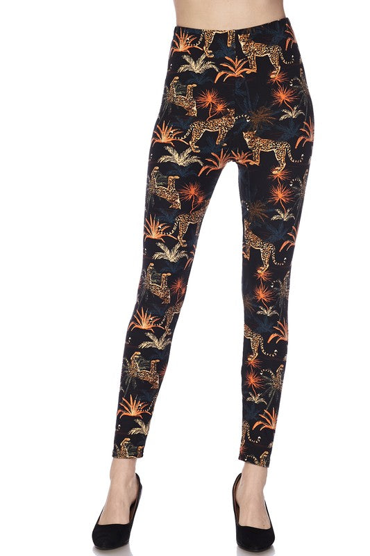 Cheetah Spark Print Brushed Leggings