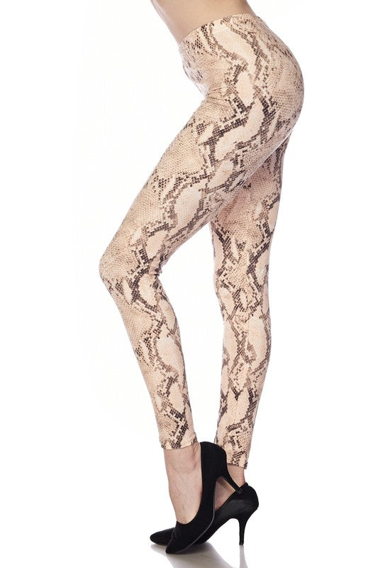 Snake Skin Print Brushed Leggings