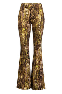 LVP10051-SN2-1-Fashionomics-Snakeskin pull on bell bottom pants-RK Collections Boutique