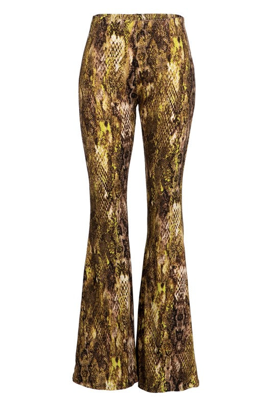 Snakeskin pull on bell bottom pants