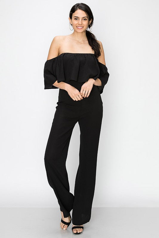 Off the shoulder layered jumpsuit